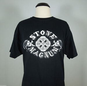 STONE-MAGNUM-Band-Logo-Official-T-Shirt-Black-Men-039-s-sz-XL-R-I-P-Records-NEW