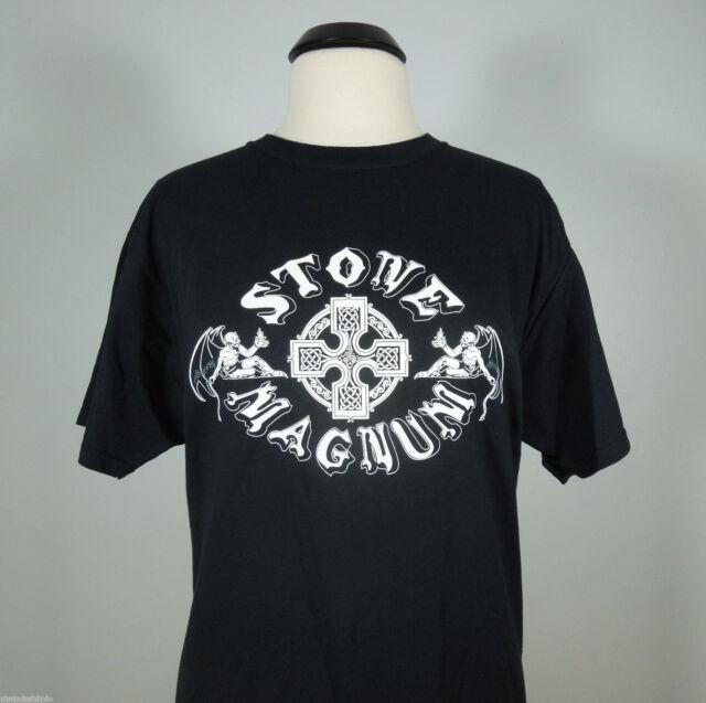 STONE MAGNUM Band Logo T-Shirt Black Men's size XL (R.I.P. Records) (NEW)
