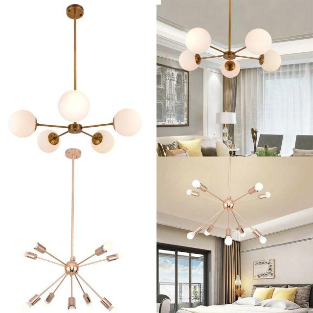 LED Chandelier Dining Room Ceiling Light Acrylic Restaurant Pendant Lamp  Brass