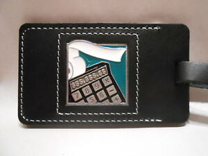 Cast-Pewter-amp-Leather-Luggage-Tag-Accounting-Calculator-Emblem-Ahlers-Designs