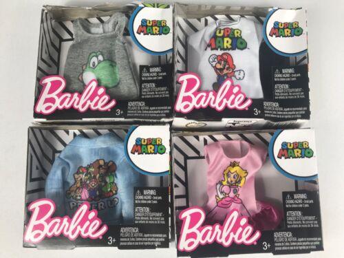 white top          lot of 4 pink skirt Barbie Super Mario Denim Jacket Fashion