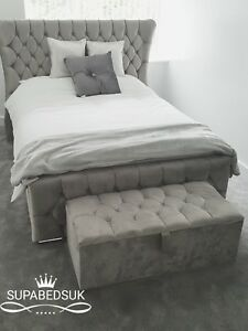 Magnificent Details About 5Ft King Size Wing Back Bed Frame Chesterfield Sleigh Bed Matching Ottoman Box Machost Co Dining Chair Design Ideas Machostcouk