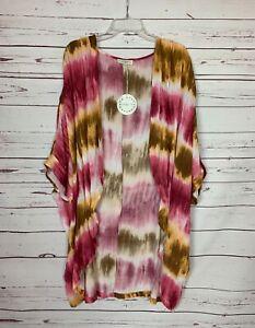 Umgee-USA-Boutique-Women-039-s-Plus-1XL-2XL-Pink-Boho-Tie-Dye-Kimono-NEW-With-TAGS
