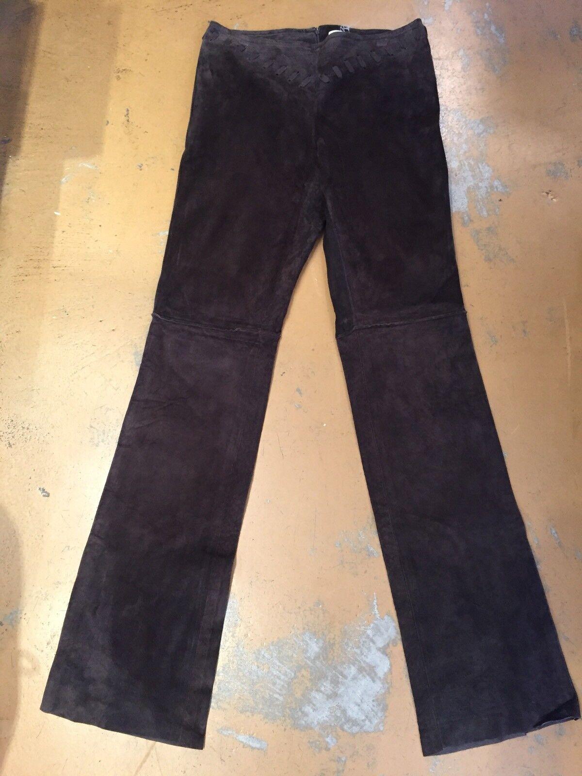 Illia NEW  Dark Brown Suede Leather Hi Rise Rear Zipper Pants Sz P NWOT