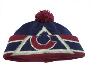 048defab285 Colorado Avalanche CCM Cuffed Pom Knit Red Blue Hat Cap Toque Beanie ...