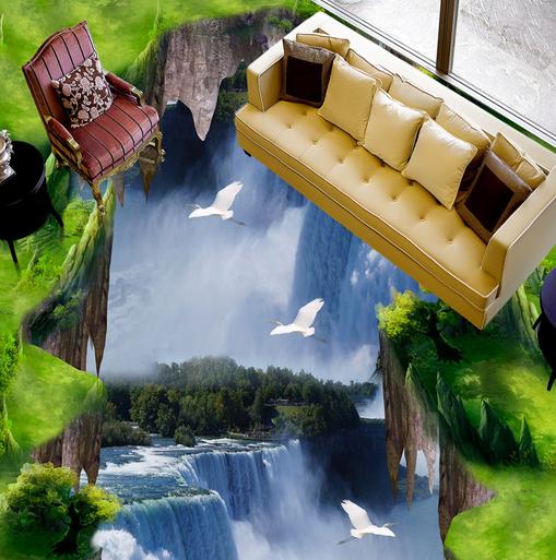 3D Egret Falls Cliff 45 Floor WallPaper Murals Wall Print Decal AJ WALLPAPER