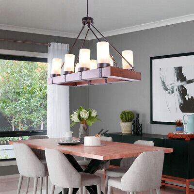 Vintage Wooden 8 Light Chandelier Kitchen Island Light Pendant Lamp  Fixtures | eBay