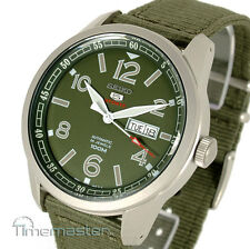 SEIKO 5 SPORTS AUTOMATIC S/STEEL GREEN FACE NYLON STRAP MILITARY STYLE SRP621K1