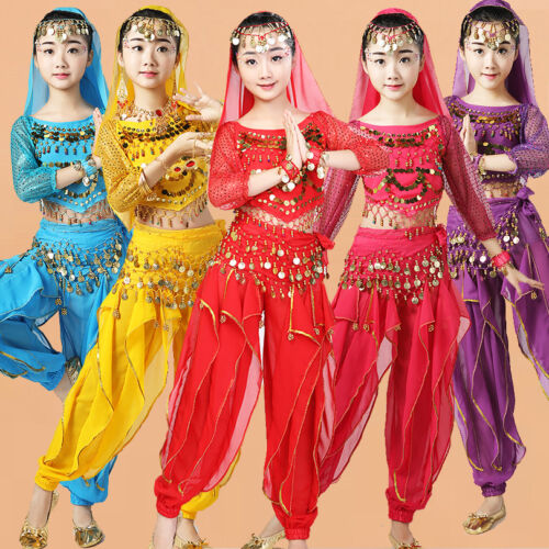 Girls Indian Costumes Kids Belly Dance Costumes Halloween Cosplay Party Outfits