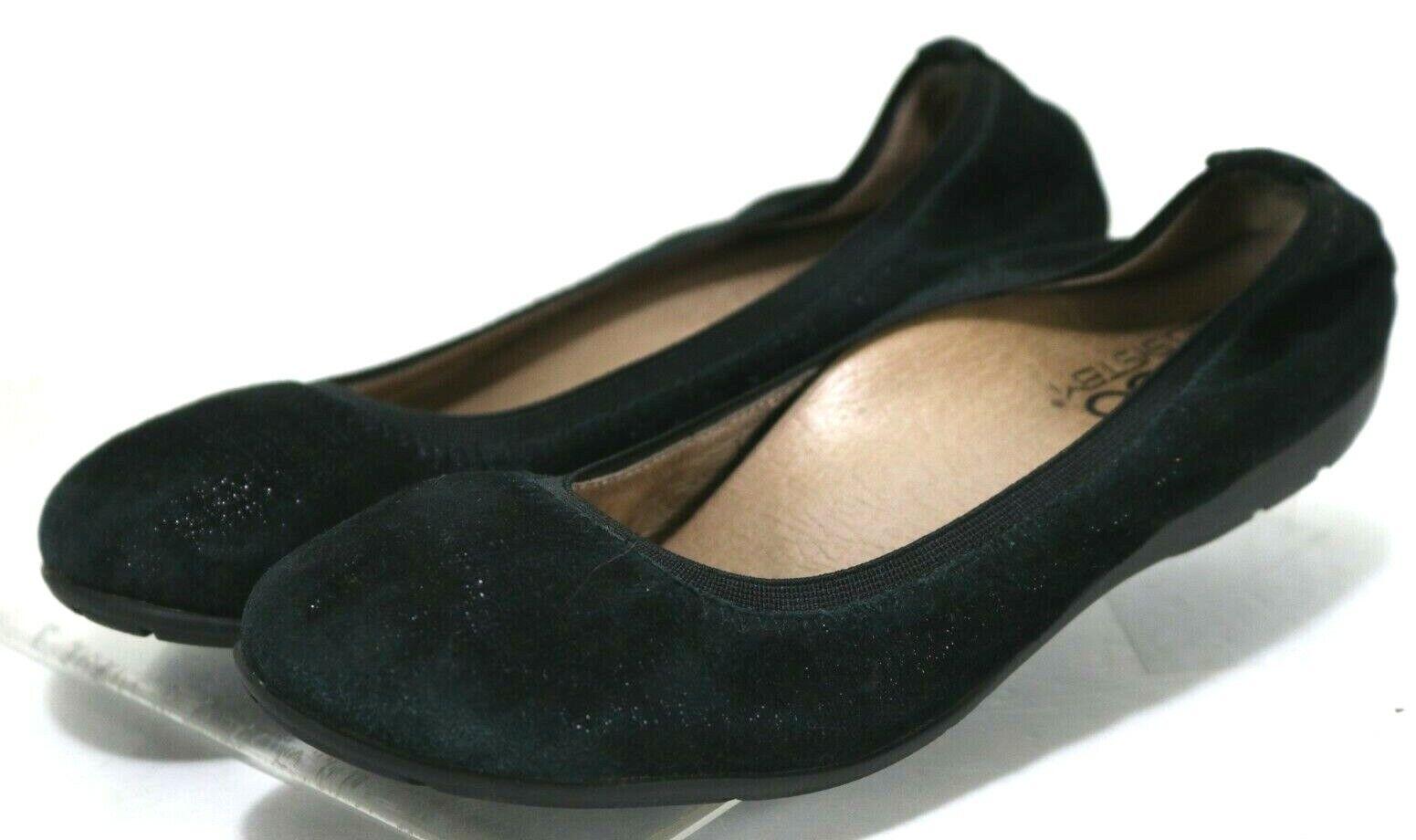 ABEO Tia Neutral  120 Women's Ballet Flats shoes Size 6.5 Suede Leather Black