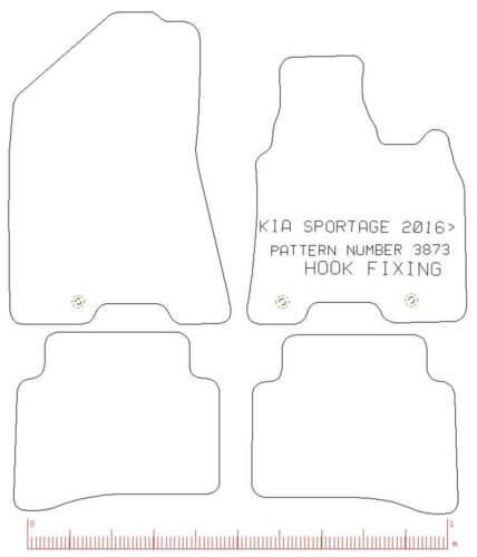 Fully Tailored 4 Piece Car Mat Set with 3 Clips For Kia Sportage MK4 2015
