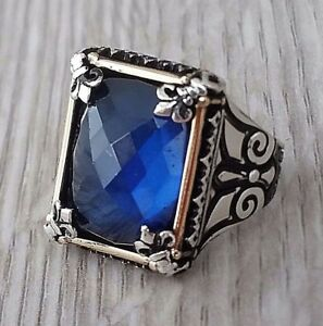 Turkish Ottoman Faceted Sapphire Gemstone 925 Sterling Silver Mens Ring Gemstone