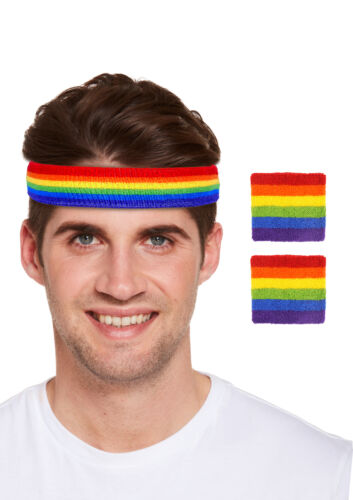 UNISEX Rainbow Gay Pride LGBT Headband with wristbands Set GAY PRIDE Accessories