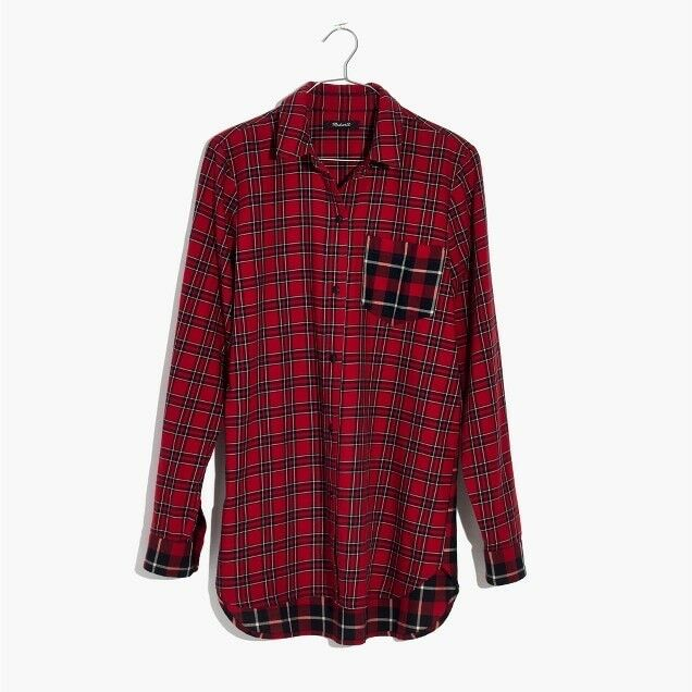 Madewell classic ex-boyfriend shirt in plaid patchwork Sz L H3253 In Multi