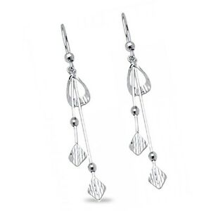 Image Is Loading Fancy Dangle Earrings Solid 14k White Gold Long