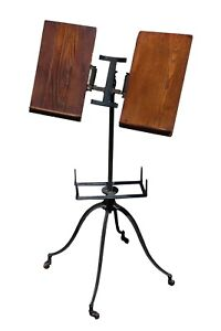Antique-Giffen-amp-Giffen-Iron-amp-Oak-Dictionary-Book-Stand-Chicago-c-1890