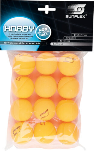 12 Tischtennisbälle sunflex HOBBY weiß oder orange