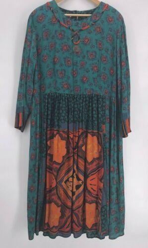 Vintage 90s Blue Patchwork Rayon Boho Dress sz 3X Long Sleeve Velvet