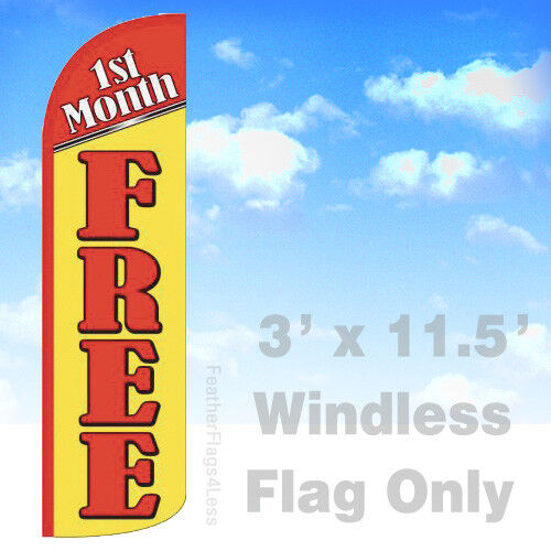 1st Month Free Windless Swooper Feather Flag Rent Banner 3x11 5 Sign Yq