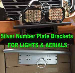 VW-Amarok-Ultimate-ALUMINIUM-SILVER-Number-Plate-License-Light-Aerial-Brackets