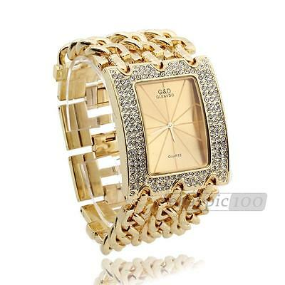 Women Quartz Wristwatch Wrist Watch Bracelet Gold Band Rhinestone Rectangle Dial
