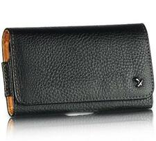 Black Genuine Leather Case Clip Luxmo Horizontal Pouch for Samsung Galaxy S II 2