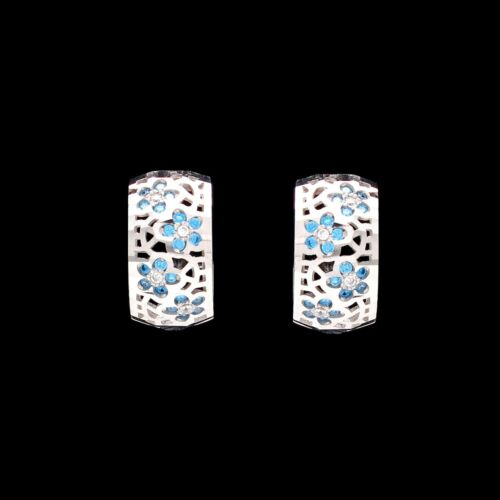 0.20TCW Created Blue Topaz Earrings 14K Solid White Gold Flower Cluster Huggies