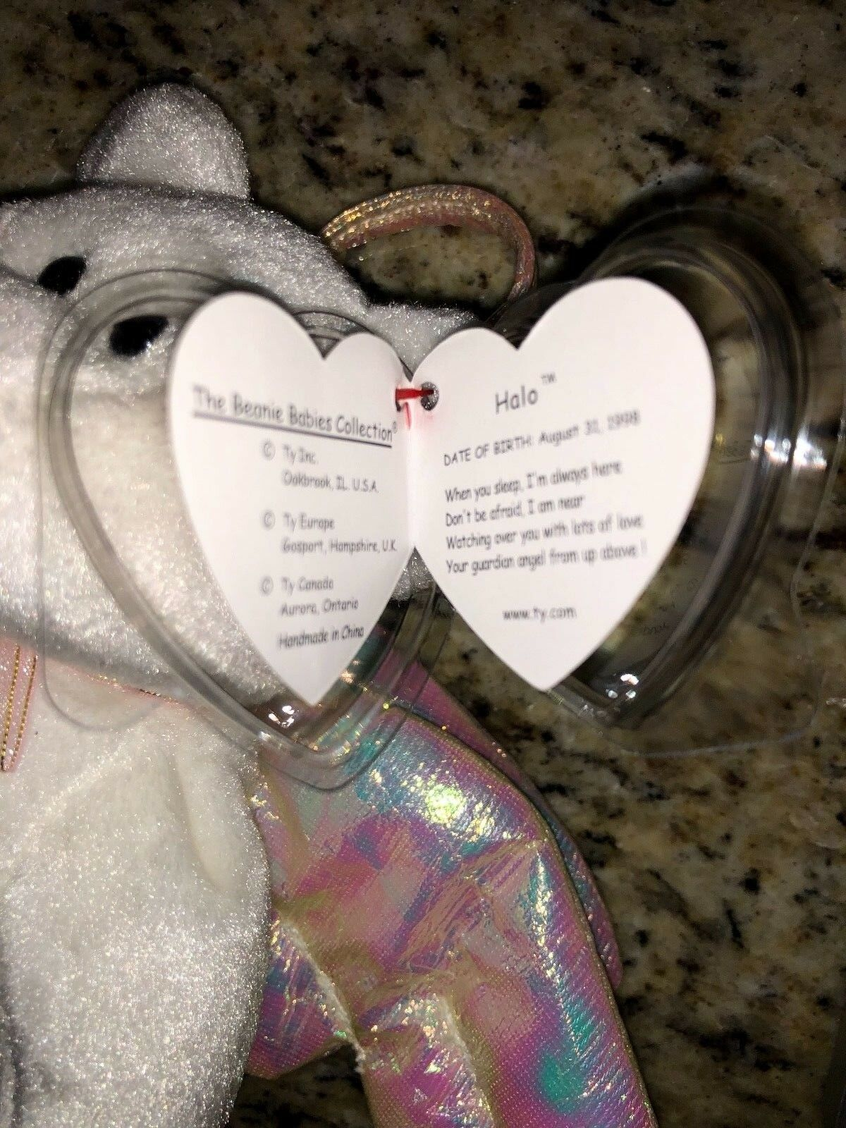 Beanie Baby Halo Bear with RARE brown nose and and and swing tag predector. Retired. NWT a9b3b4