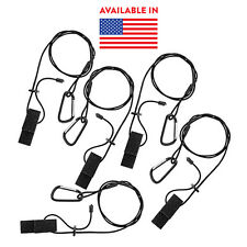 "5 Pack - 42"" Adjustable Length Kayak Canoe Paddle Fishing Rod and Gear Leashes"