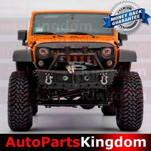HD Rock Crawler Front Bumper+Side Fin+Fog Light Hole For 07-18 Jeep JK Wrangler