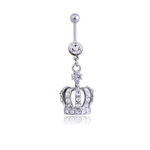 Crown Charm Rhinestone Body Piercing Jewelry Belly Button Ring Navel JewelrFBDC