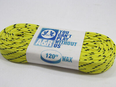 """Pro Guard Waxed Hockey Laces Flat 120/"""" Yellow w// Black Chips Molded Tips NEW"""