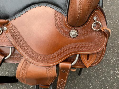 NEW WESTERN EMBOSSED  LEATHER SADDLE SET SIZE 15 INCH TO 18 INCH