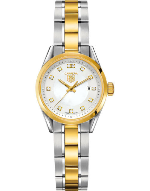 8a95c360902f Authentic Tag Heuer Ladies Carrera WV1450 Pearl Diamond 18k Gold Watch