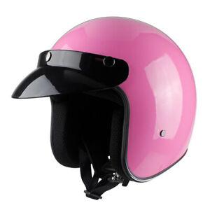 Motorcycle-Helmet-Open-Face-3-4-Half-Helmet-w-Shield-Visor-Cruiser-Scooter-Pink