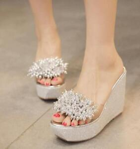 Womens-Beads-Transparent-High-Wedge-Platform-Slippers-Sandals-Open-Toe-Shoes-C86
