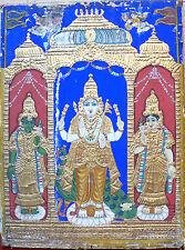 Ancienne peinture de Thanjavur Tamil Nadu Perles Argent Or Sarasvati Inde 19e