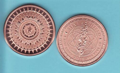 THROAT CHAKRA  1 oz Copper Round  MINI MINTAGE #72  Silver Shield  2018