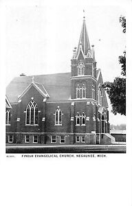 Negaunee Michigan Finish Evangelical Church Exterior Vintage Postcard V19385