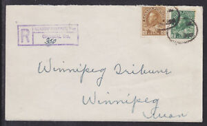Canada Sc 107, 118 on 1927 Registered Cover to Winnipeg