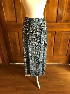 AB-Studio-Black-Blue-amp-White-Multi-Print-Maxi-Skirt-Large