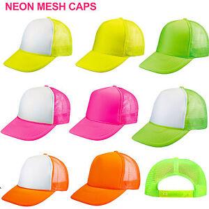4 DOZEN (48) NEON TRUCKER HATS ~ WHOLESALE LOT FLOURESCENT MESH HAT ... 20e288ae597