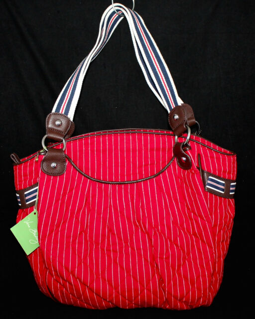 aa5091291b29f NWT VERA BRADLEY 11446 Carry-All Tote Red w  White Pinstripes MSRP  105