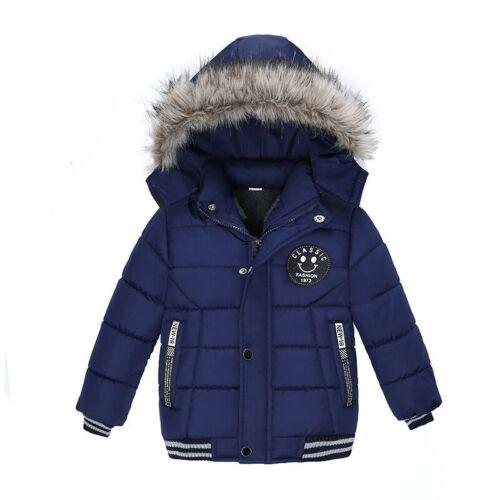 Boys Winter Jacket Childrens Fleece Coat Fur Lined Hoodie Zip Warm Windbreak