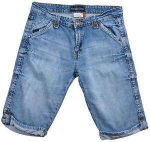 Benotti-Jeans-Femmes-Short-Jeans-Bleu-Clair-Coton-Bouton-Poche-Zip-Taille-42