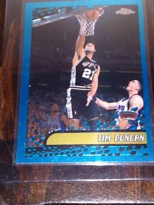 2002-03-Topps-Chrome-Tim-Duncan-Holo-Blue-Aqua-Chrome-Border-Refractor-SA-Spurs