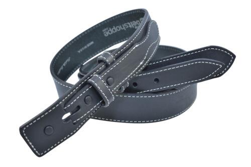 Black Full Grain Bison Leather Ranger Belt Strap Made in USA