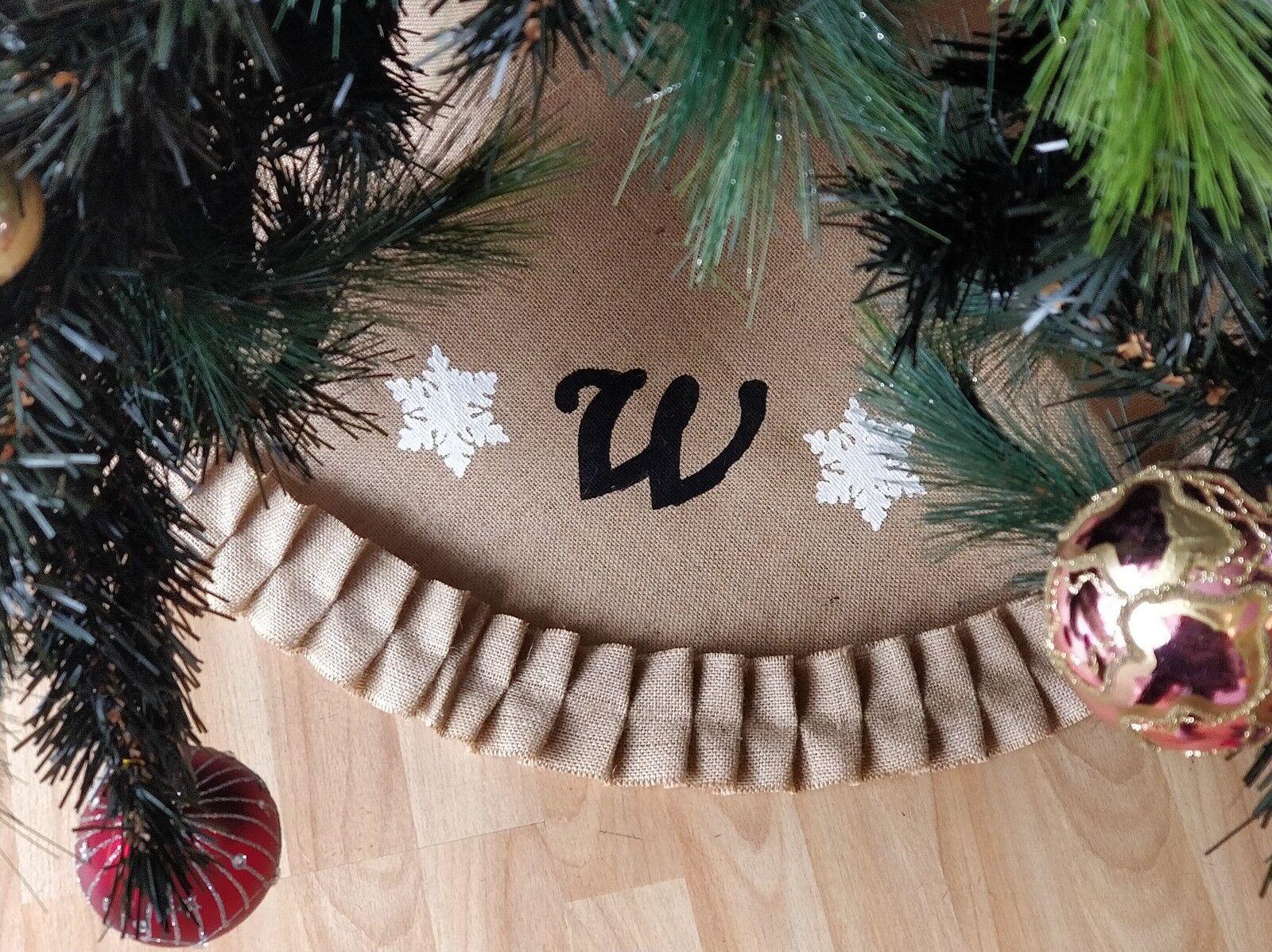Personalised Initials  Christmas tree Skirt Burlap Hessian Family hand Made New