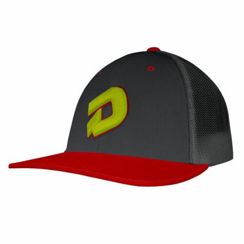 Small//Medium DeMarini D Logo Baseball//Softball Trucker Hat Charcoal//Red//Optic