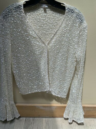 Dosa Sequin Sweater Flutter Sleeve